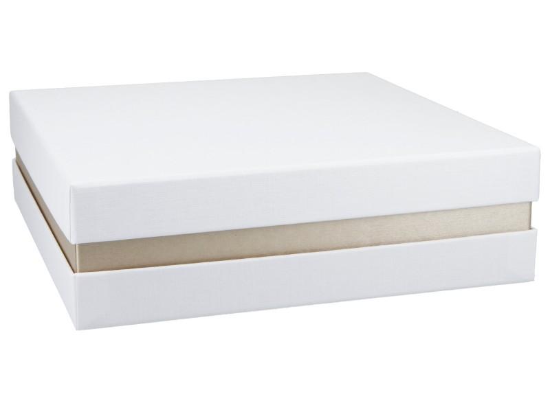 Premium+ Geschenkbox - Geschenkverpackung Made in Germany (Weiß, Gold metallic, Weiß) 21x6x21 cm