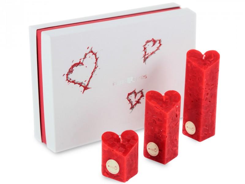 Liebesgeschenk - Geschenkbox mit Herzkerzen