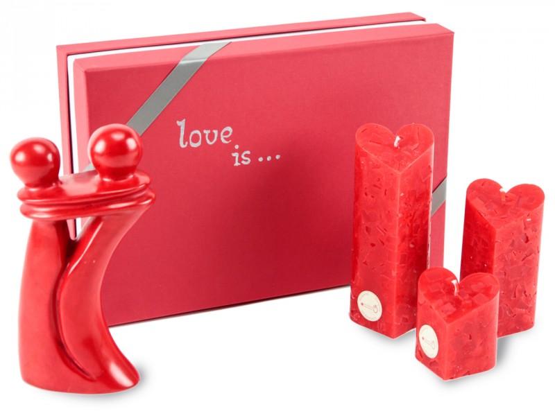 Liebesgeschenk - Geschenkset mit Kerzen und Dekofigur