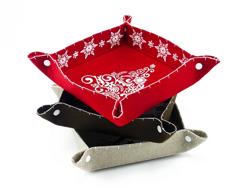 Schale Filz rot *Tannenbaum Motiv* (Als Deko- oder Aufbewahrungsschale für Schmuck etc.) Kreative Geschenkidee