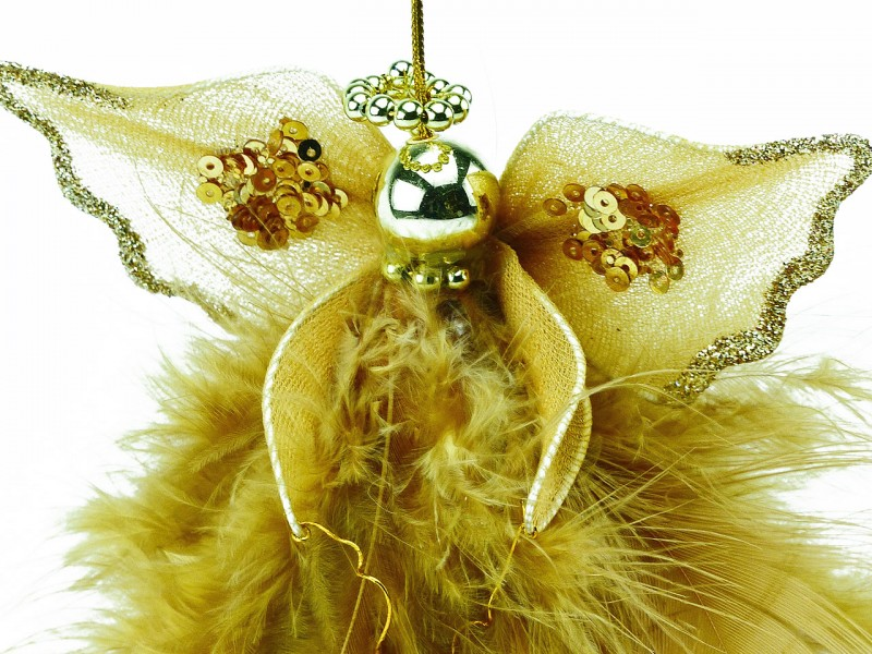 Engel braun mit Federn