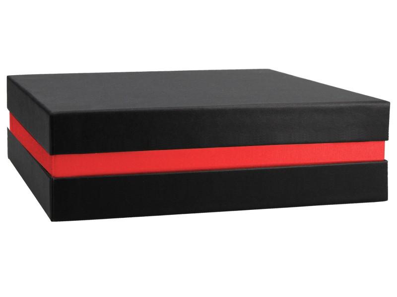 Premium Geschenkbox - Geschenkverpackung Made in Germany (Schwarz, Rot, Schwarz) 21x6x21 cm