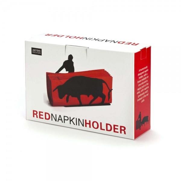 Red napkin holder