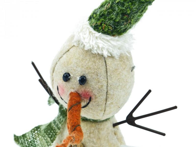 Schneemann mit grünem Hut