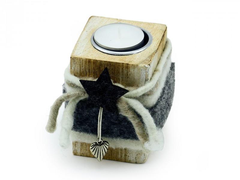 Teelichthalter Holzblock dunkel (klein)