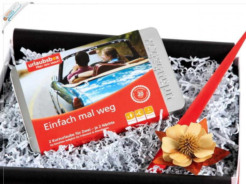 """Städtereise Urlaubsbox - Geschenkset Kurzurlaub """"Einfach mal Weg"""" für 2 Personen Reisegutschein"""