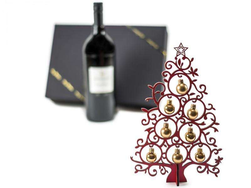 Weihnachtsgeschenk Geschenkset mit Glühwein und Deko-Tannenbaum